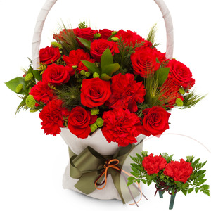 카네이션+장미 꽃바구니(코사지2개)